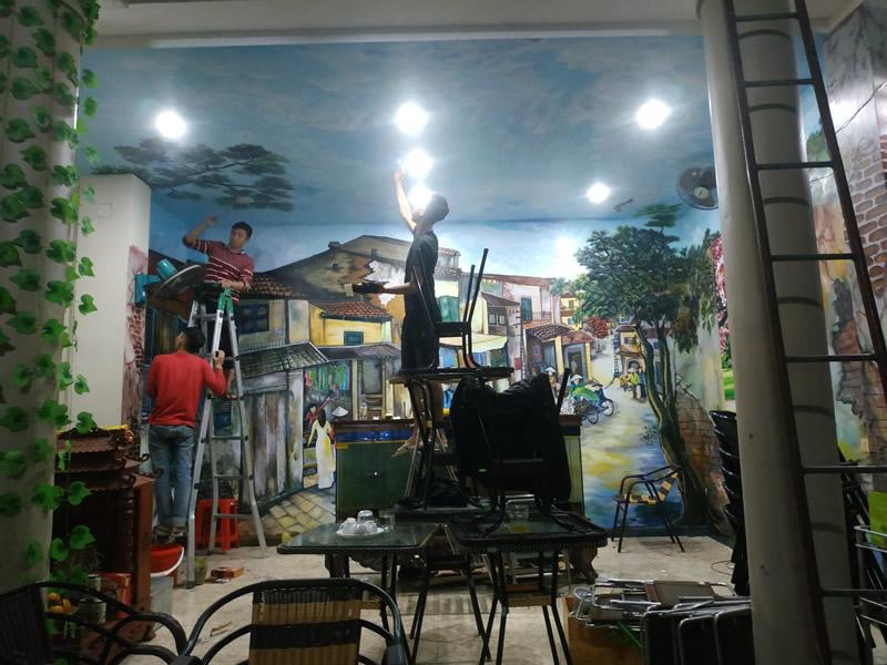 Vẽ tranh tường Quán cà phê Ngô Gia Tự, TP Vinh