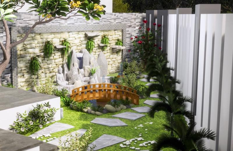 Thi công sân vườn cảnh quan Chị Châu, TP Vinh