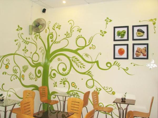 Vẽ tranh tường 3D quán cà phê trà sữa tại Hà Tĩnh